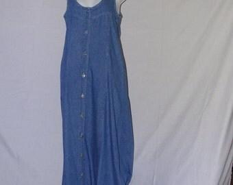 Vintage front button down fastening denim dress 1990's size M