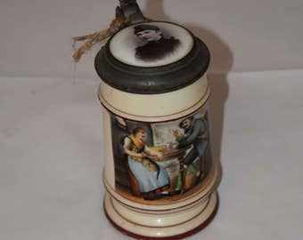 Vintage porcelain hand painted German Beer Stein
