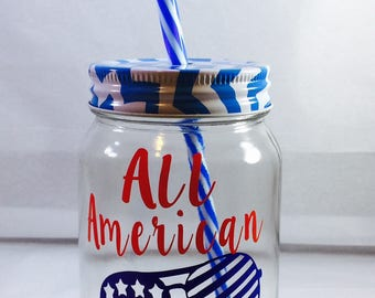 SALE PRICE Fourth of July Cup, Fourth of July decorations, All American Babe, 4th of July Cup, 'Merica, BBQ cup