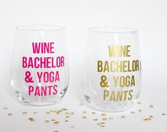 Wine Bachelor & Yoga Pants Stemless Wine Glass
