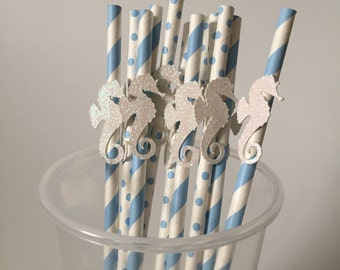 Baby Blue and White Glitter Mermaid Seahorse Paper Party Straws -12 count- Birthday Party Shower Decorations - Beach Ocean Under the Sea