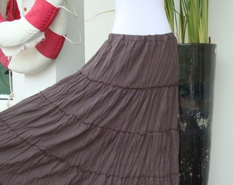 SALE - Long Taupe Dark Brown Maxi Skirt - Long Cotton Lawn Tiered Skirt - SK002