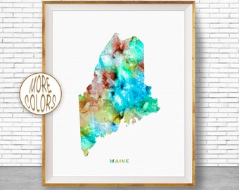 Maine State Maine Decor Maine Print Maine Map Art Print Map Artwork Map Print Map Poster Watercolor Map Office Art Print ArtPrintZone