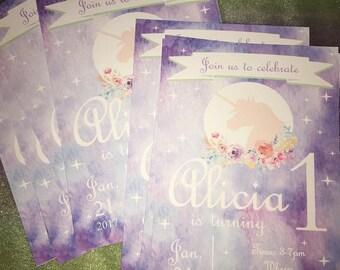 Card Stock PRINTED Unicorn Birthday Invitations w/Envolopes 10 count 5x7