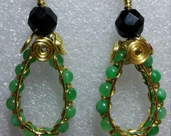 Green Jade and Black Onyx Gold Wire Earrings