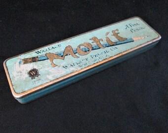 1940s Metal Pencil Box Wallace Motif St. Louis Vintage empty