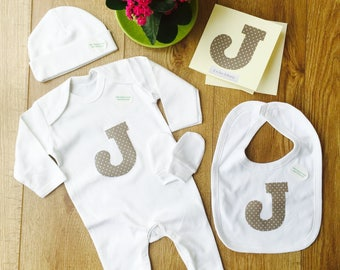 Organic Cotton Personalised Letter New Baby Gift Set, Personalised Baby Gift, Baby Name Gift, Card Included