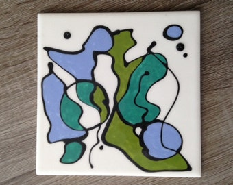Single tile, hand-painted abstract ceramic