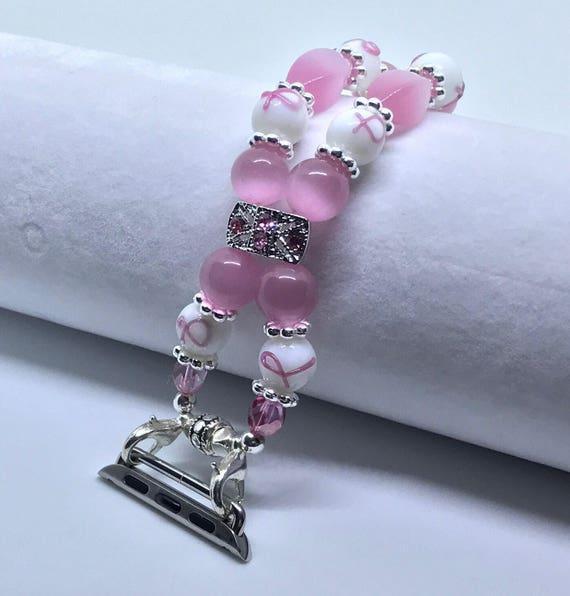 Apple Watch Band, Women Bead Bracelet Watch Band, iWatch Strap, Apple Watch 38mm, Apple Watch 42mm, Pink, White Breast Cancer 7 1/4 - 7 1/2