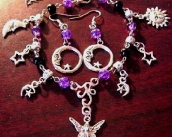 Goddess, Fairy and Moon Charm Bracelet & Full Moon Earrings Set - Free Shipping