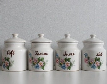 Ceramic storage jars - French jars, Kitchen canister, French vintage, Canister set, Storage jar, Vintage canister, C117