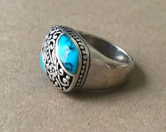 Vintage Sterling Silver and Turquoise Ring, Size 5-1/2 Ring