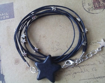 Star bracelet, Bead Bracelet-black-
