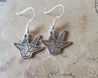 Origami crane earrings ~ silver ~