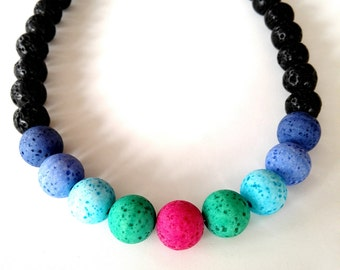 Short necklace lava and Polaris beads Colorfull necklace