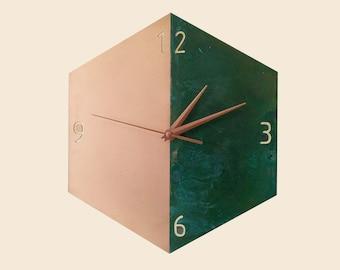 Copper Wall Clock, Modern Wall Clock, Patina Copper Clock, Minimalist Design