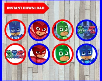 80% OFF SALE Printable Pj masks Cupcakes toppers instant download, Pj masks party Toppers, Printable Pj masks Toppers