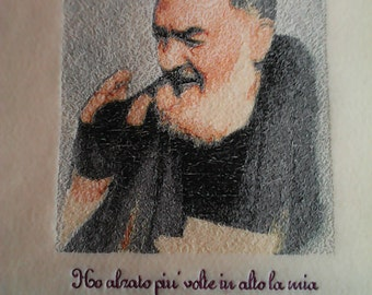 Embroidered framed religious icon-Padre Pio-framed Picture