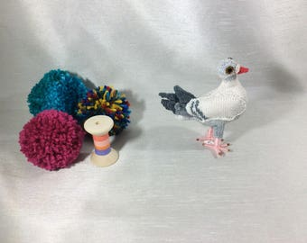 Feral pigeon, Vegan Bird...small size Knitted babded feral pigeon, collectible