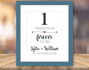One Year Anniversary for Boyfriend Print Artwork Personalized Cotton Art Print Custom Wall Cotton Unique Gifts