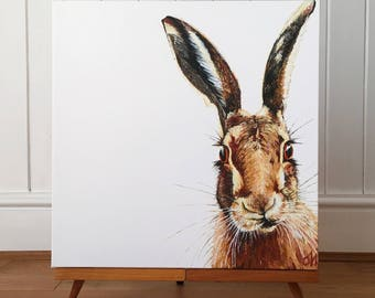 Hare - limited edition canvas print. Hare art - hare painting - hare print - hare picture - wildlife art.