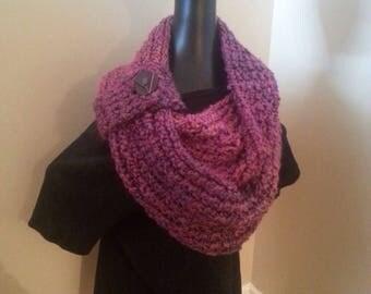 INFINITY scarf, knit chunky wool scarves, double cowl neckwarmer, handmade