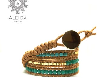 Turquoise / gold beads and leather wrap bracelet bracelet
