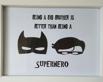 Sibling Batman Superhero frame gift for new big brother, birthday gift from Sibling