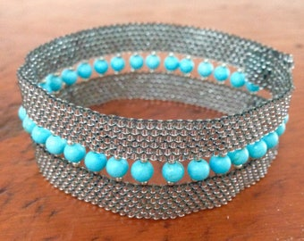 Silver and Turquoise Beaded Bracelet, Cuff Bracelet, Beaded Bracelet, Sparkling Bracelet