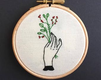 Green Fingers Embroidery Hoop // Hand Embroidered // Wall Art // Decorative Wall Hanging