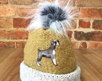 Felt Dog Design on Wool Hat, Schnauzer Dog on Yellow, Handmade Unique Item, Needle Felted Design