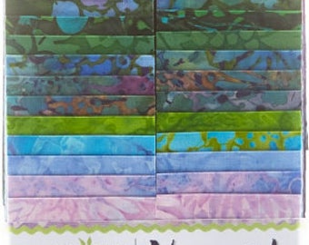 "Island Batik Vineyard Batiks Strip Pack/Jelly Roll by Kathy Engle - 40, 2.5"" of  Precut Fabric Strips"