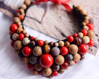 Statement necklace, bib necklace, red statement necklace, bohemian jewelry, boho jewelry, bohemian necklace, boho necklace
