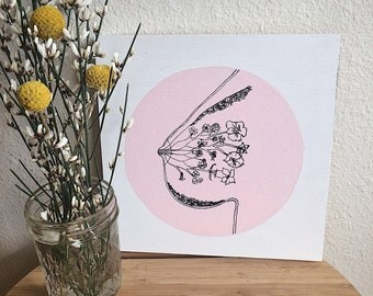 Liquid Gold / Wood / Breastmilk / Breastfeeding / Feminist Art / Illustration / Anatomy / Painting / Pink / Hang Ready