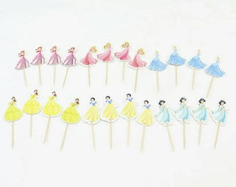 Disney Princess Birthday Toppers 24 pieces for girl's birthday or special occassions