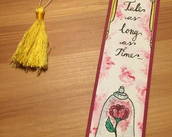 Beauty and the beast bookmarks with handmade tassel as big/pendant with quote/rose/gift for readers / Disney bookmarks