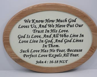 John 4 : 16-18 Carved and Painted Wooden Sign Framed In Oak - Christian Wall Art - Made To Order - Inspirational Sign