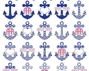 Anchor SVG Files, Anchors Monogram Svg Files, Anchors Split-monogram Svg Files, Anchors Svg, Dxf, Png, Ai File, Instant Download