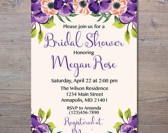 Purple Floral Bridal Shower Invitation, Bridal Shower Invitation, Floral Shower Invite, Purple Shower, Shower Invitation