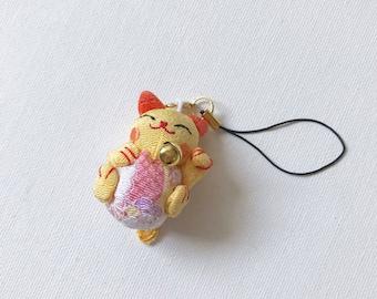 Mini Lucky Cat Yellow Charm