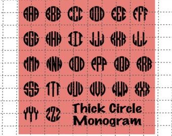 Circle Monogram SVG - Thick Circle Monogram SVG - Circle Font - SVG File - Studio File