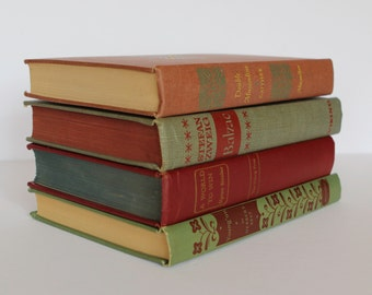 Vintage red and green book set, 1940's