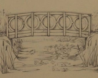 Bridge Illustration, Drawing, Cabin Art, Wall Decor, Rural, Marlene Ekman, Gift, Rio Grande, Allegheny