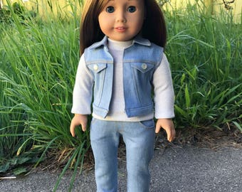 18 inch doll light blue jeans