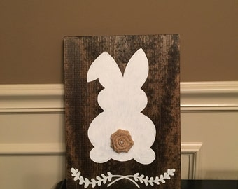 Rustic bunny wood picture