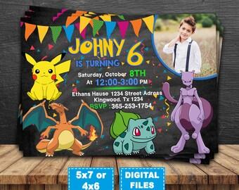 Pokemon go invitation, pokemon printable, pokemon birthday invitations, pokemon go birthday party, pokemon invite, pokemon go digital.