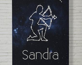 75 x 50 cm, horoscope - Zodiac – zodiac sign picture, guestbook, fine art canvas print