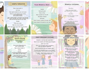 Pastel Series Mindfulness Flashcards.  U.S. Shipping only.
