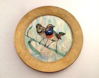 Brass Bird plate / Berendsohn Keramik signed wall collector plate