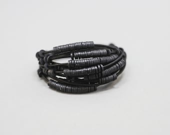 Handmade Industrial Black Leather and Rubber Bead Bracelet